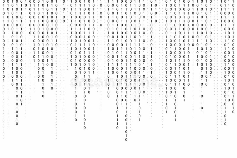 Abstract binary code background. Falling, streaming binary code background. royalty free illustration