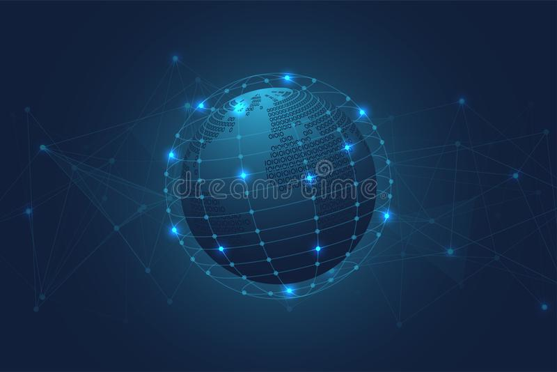 Abstract Binary world map with Blue Polygonal Space Background with Connecting Dots and Lines vector illustration