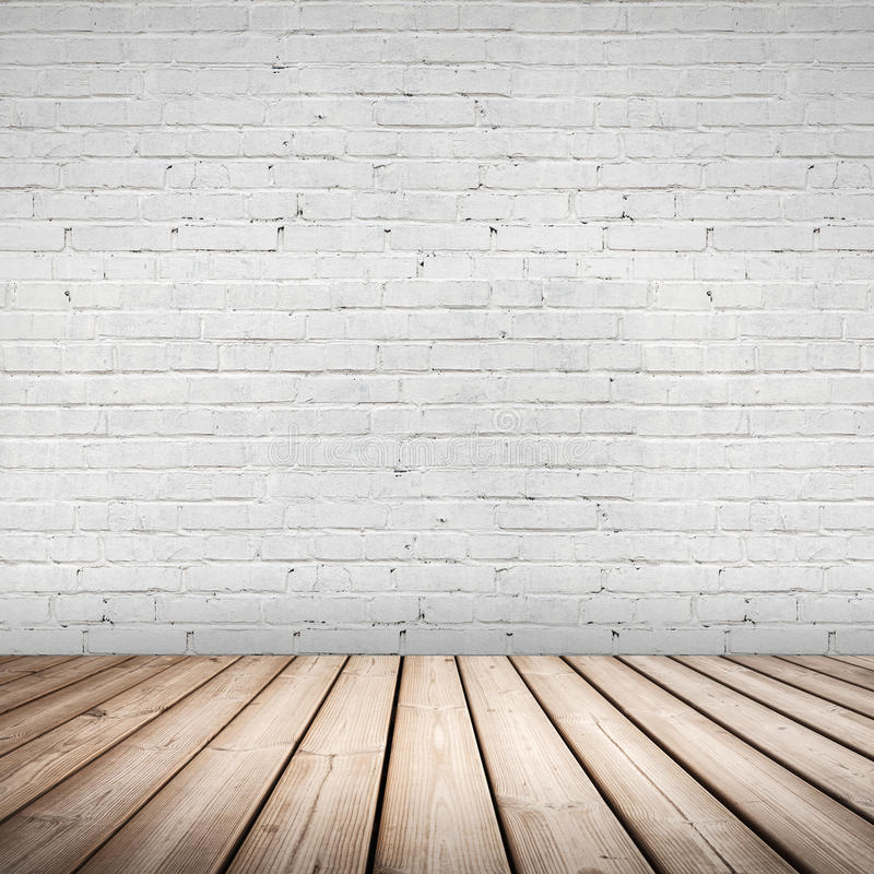 Abstract binnenland. Houten vloer en witte muur