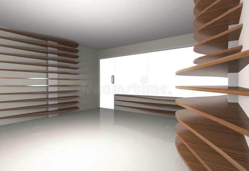Abstract binnenland met horizontaal hout shelfs royalty-vrije illustratie
