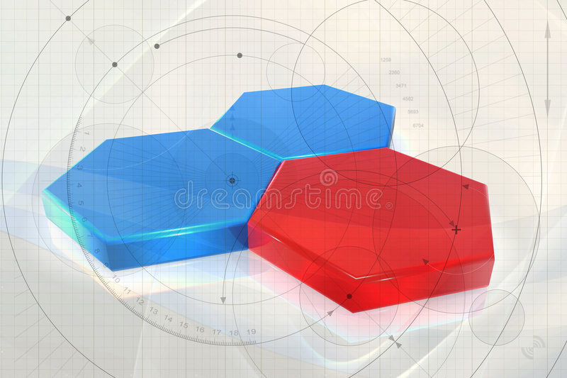 Abstract biotech background. An illustrated view of colored six-sided cells interfacing to represent biological cells on a background with technical engineering royalty free illustration
