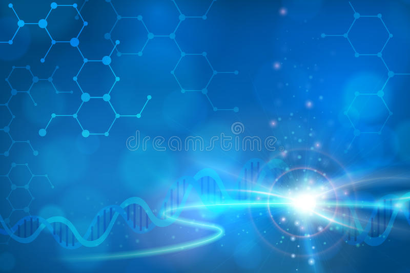Abstract biotechnology DNA background. Abstract biotechnology DNA chemistry molecule background. layered stock illustration