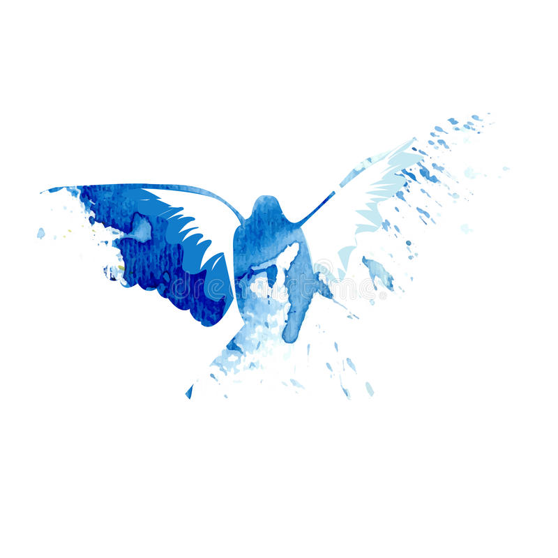 Abstract Bird Flying In Blue Water Color Style Vector ...