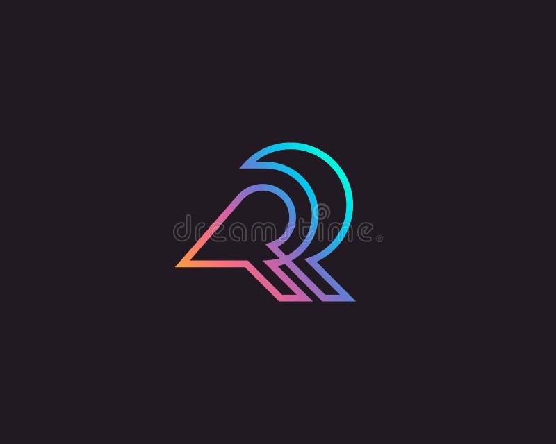 Abstract bird linear logo icon design modern minimal gradient style illustration. Raven vector emblem sign symbol mark royalty free illustration