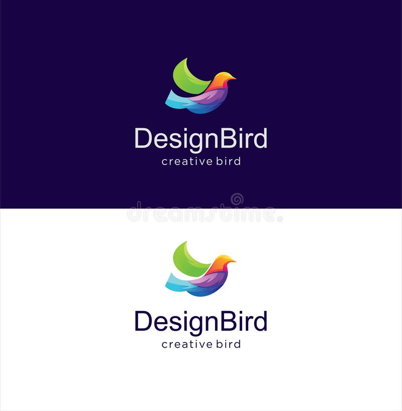 Abstract Bird Logo Design Creative sign with a dark blue and white background. Colorful Bird Logo Icon Design stock illustration