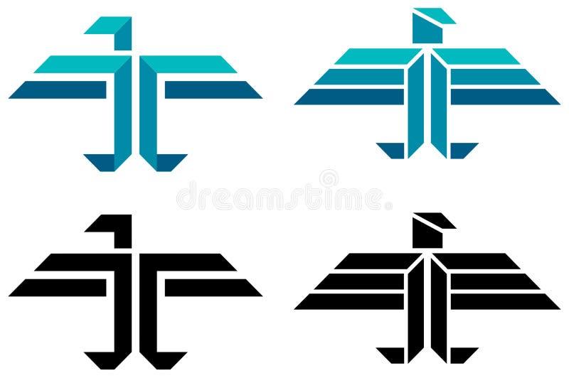 Abstract bird logo. Isolated line art abstract bird logo set royalty free illustration