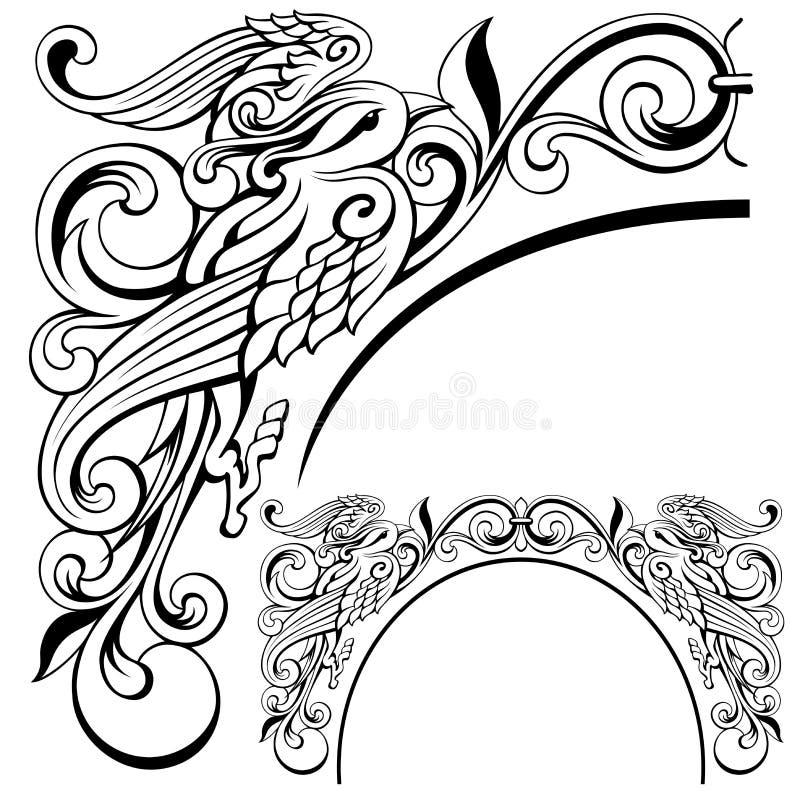 Abstract Bird Ornament Vector Illustration Stock Vector