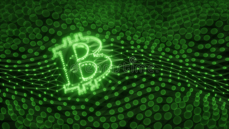 Abstract Bitcoin Sign Built as an Array of Transactions in Blockchain Conceptual 3d Illustration stock illustration