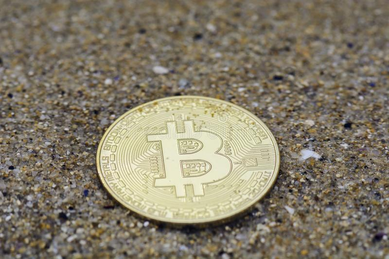 Abstract bitcoin under water and blurred. stock image