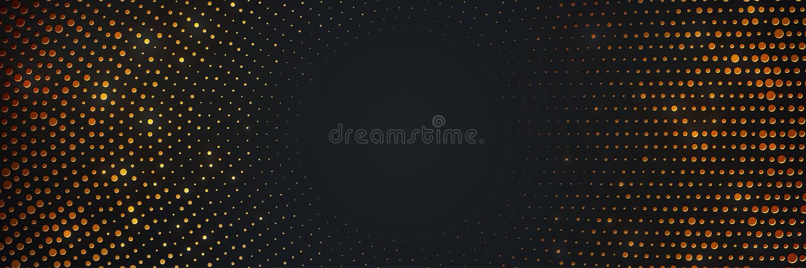 Abstract black background with a combination glowing golden dots. Circle black textured background with shining golden halftone vector illustration