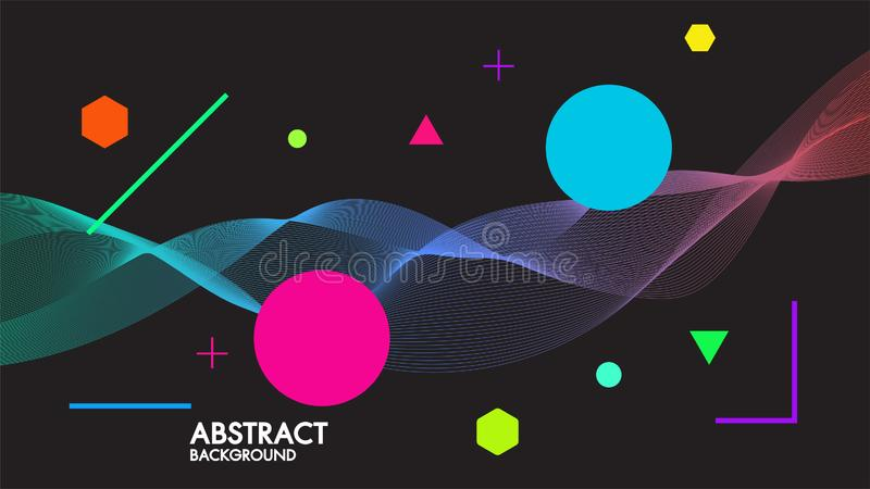 Abstract black background with dynamic linear futuristic waves.For space text colorful vector design illustrator in flat minimalis. Tic concept style royalty free illustration