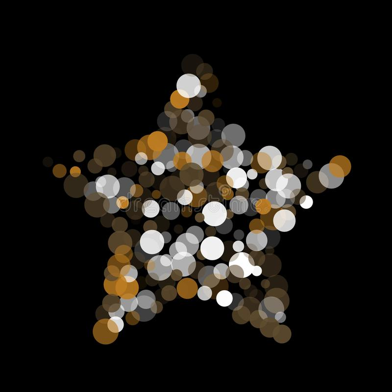 Gold, White And Gray Confetti Transparent Dots. Stock