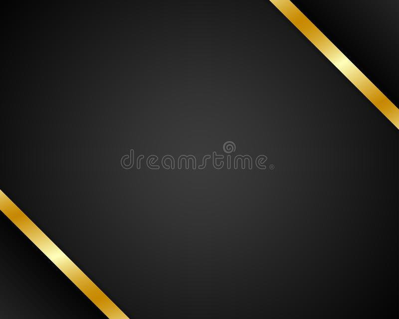 Abstract black background with golden ribbon. royalty free illustration