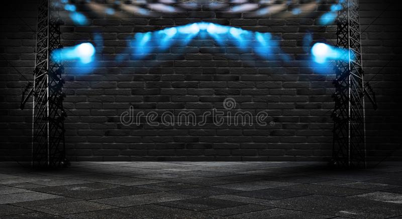 Background of an empty corridor with brick walls and neon light. Brick walls, neon rays and glow. Abstract black background with neon lights, lines and lights stock image