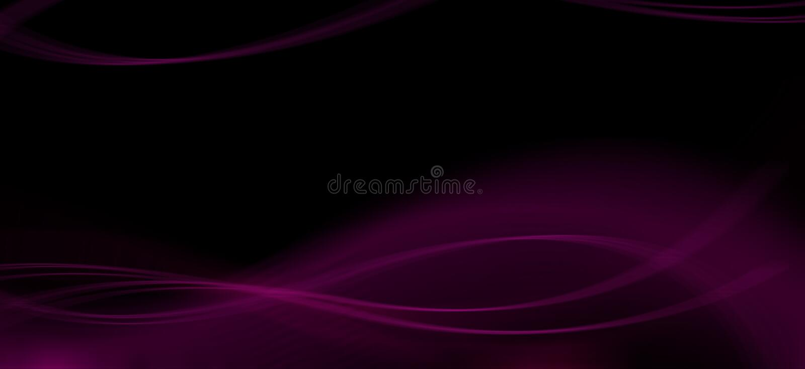 Abstract black background with pink waves. Pink blur lines. Decorative background royalty free illustration