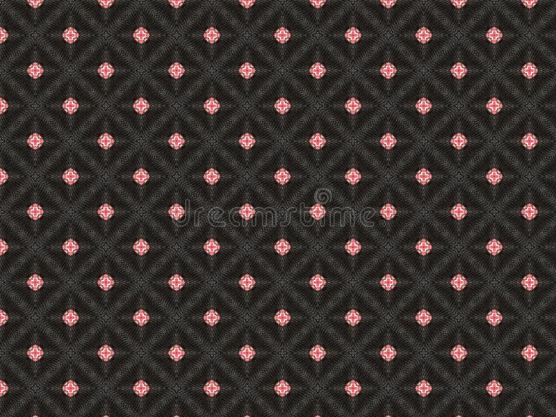 Abstract black background stitched with a silver thread in the shape of a star in red in the center royalty free stock image