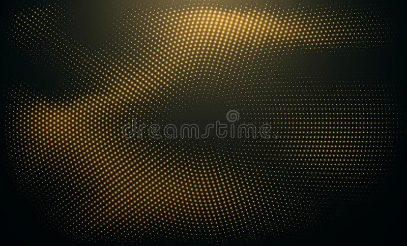 Abstract black background textured with radial glitter golden halftone pattern. Vector illustration stock illustration