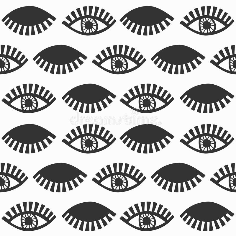 Abstract black blinking feminine eyes with lashes pattern on white. Abstract black blinking feminine cool eyes with lashes pattern on white background stock illustration