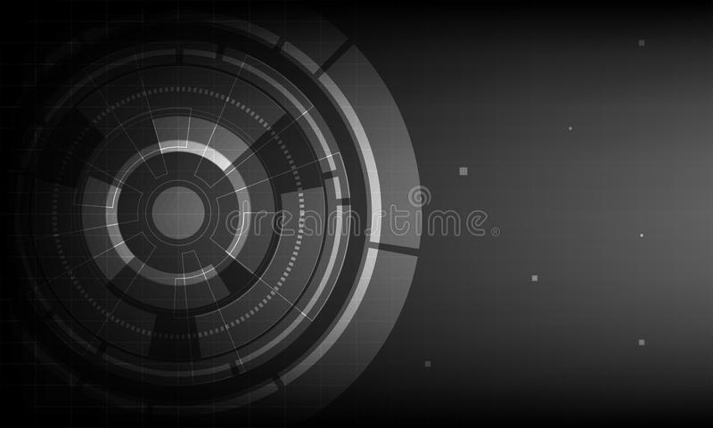 Abstract Black circle digital technology background, futuristic structure elements concept background vector illustration