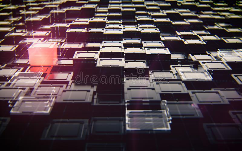 Abstract black cubes with red light technology royalty free stock image