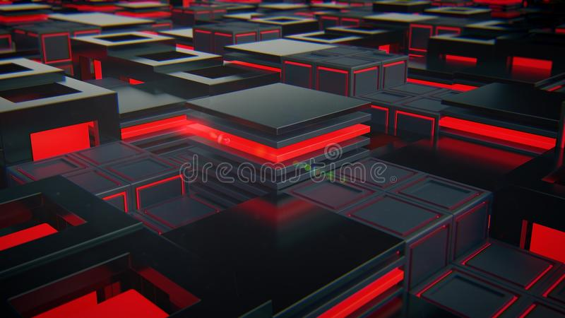 Abstract black cubes with red light technology royalty free stock photo
