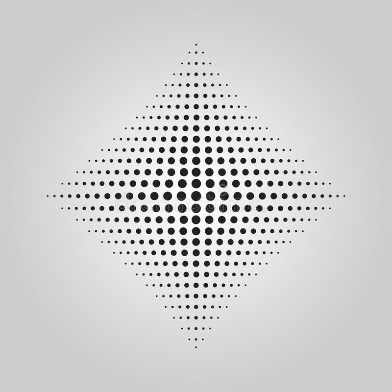 Abstract black dots halftone technique effect in shape of rhombus design element. On gray gradient background royalty free illustration