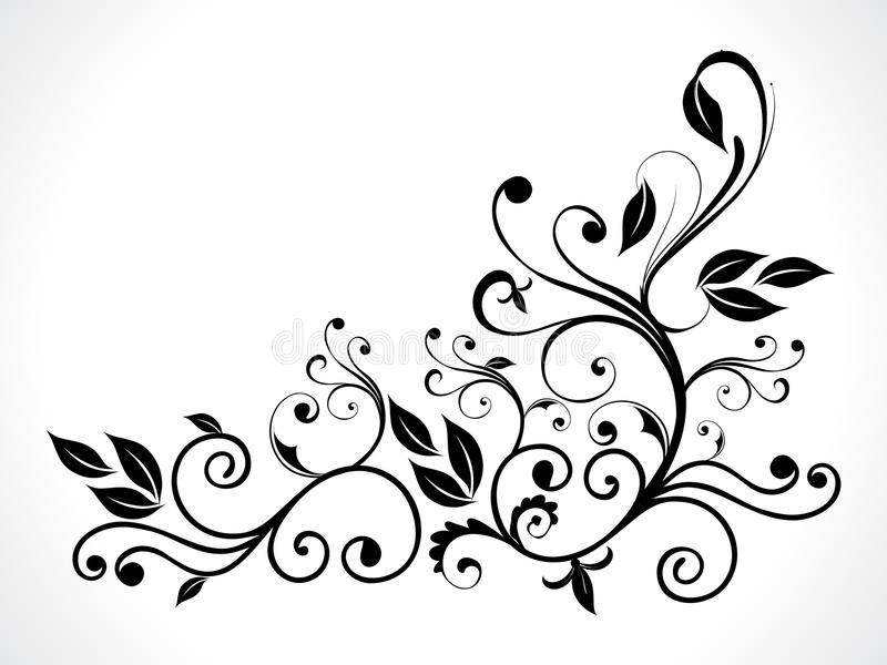 Abstract black floral stock illustration