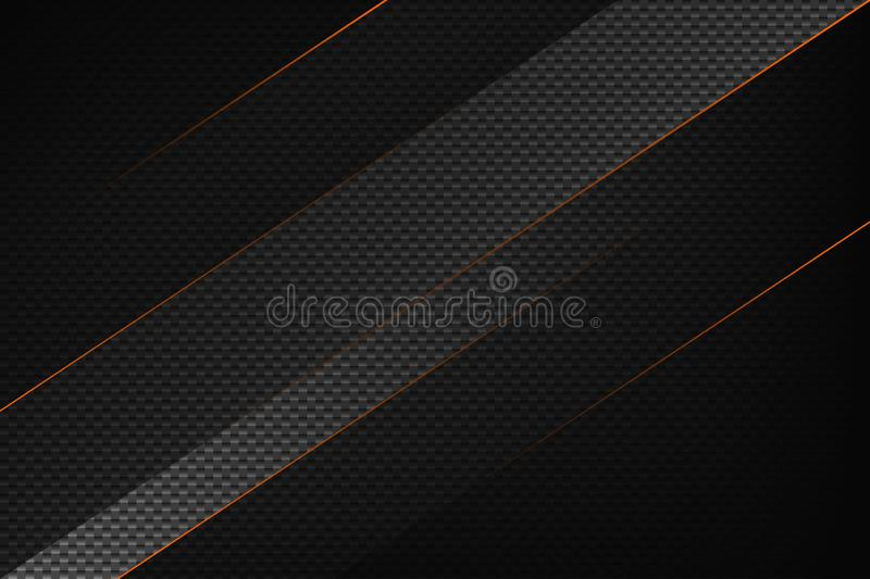 Abstract black geometric background with orange stripes. Modern carbon fiber texture. Stock vector backdrop stock illustration