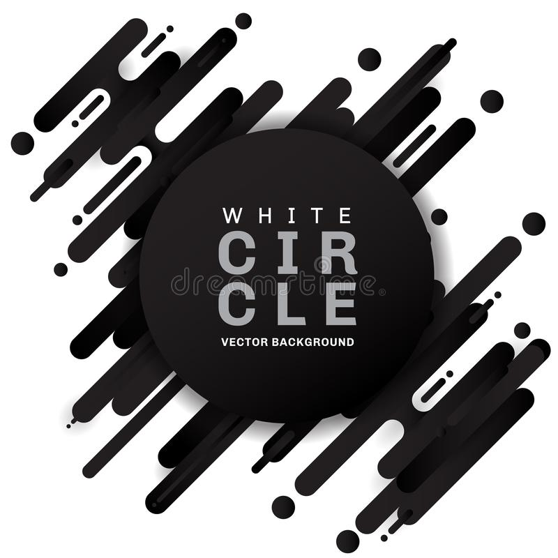 Abstract black geometric pattern rounded shapes diagonal lines transition on white background with white circle tag royalty free illustration
