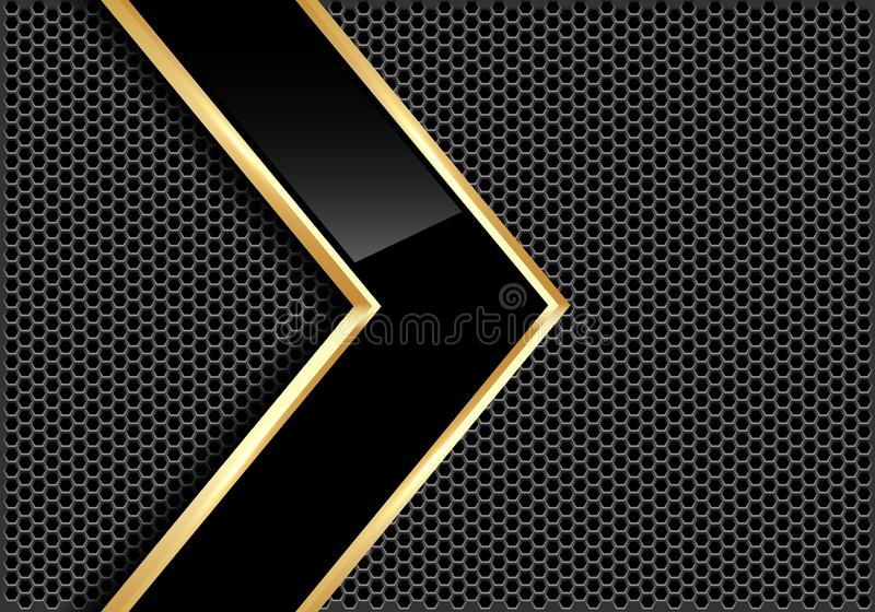 Abstract black glossy gold line arrow on gray metal circle mesh design modern futuristic background vector. Illustration stock illustration