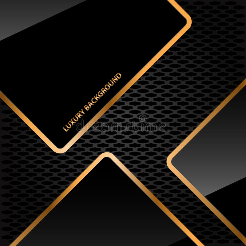 Abstract Black Glossy Gold Line On Honeycomb Mesh Luxury