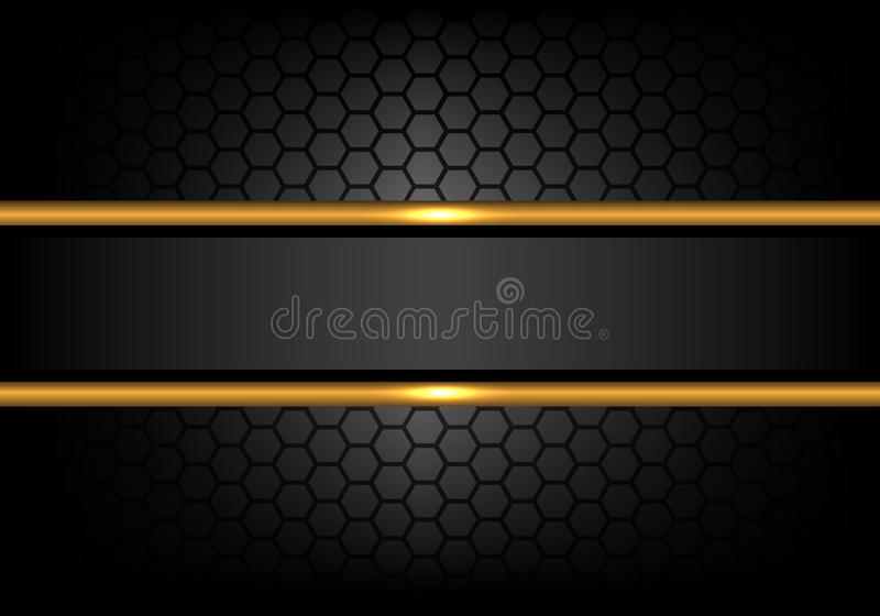 Abstract black gold line banner on hexagon mesh pattern design modern luxury background vector vector illustration