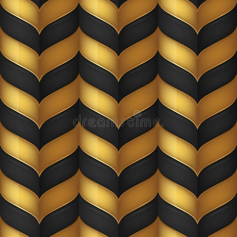 Abstract black and gold seamless pattern stock illustration