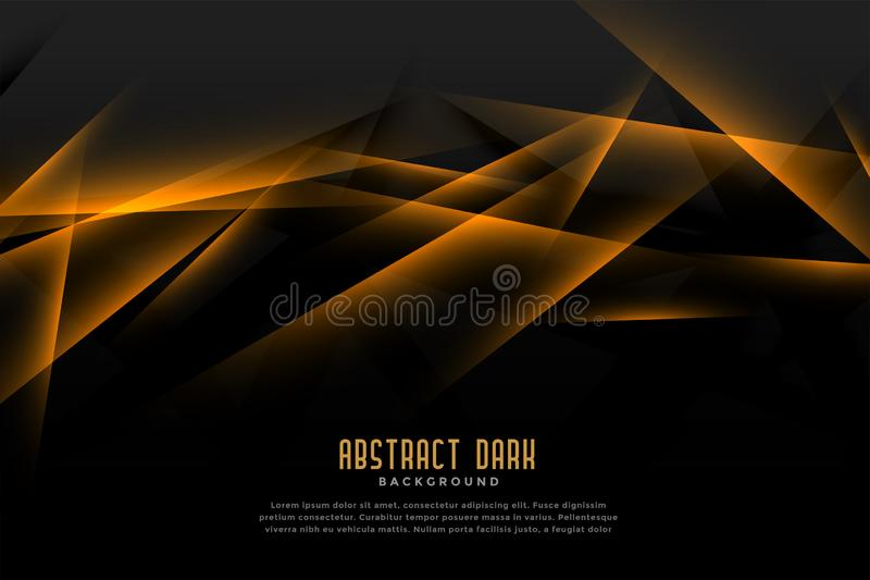Abstract black and golden background with light line effect vector illustration