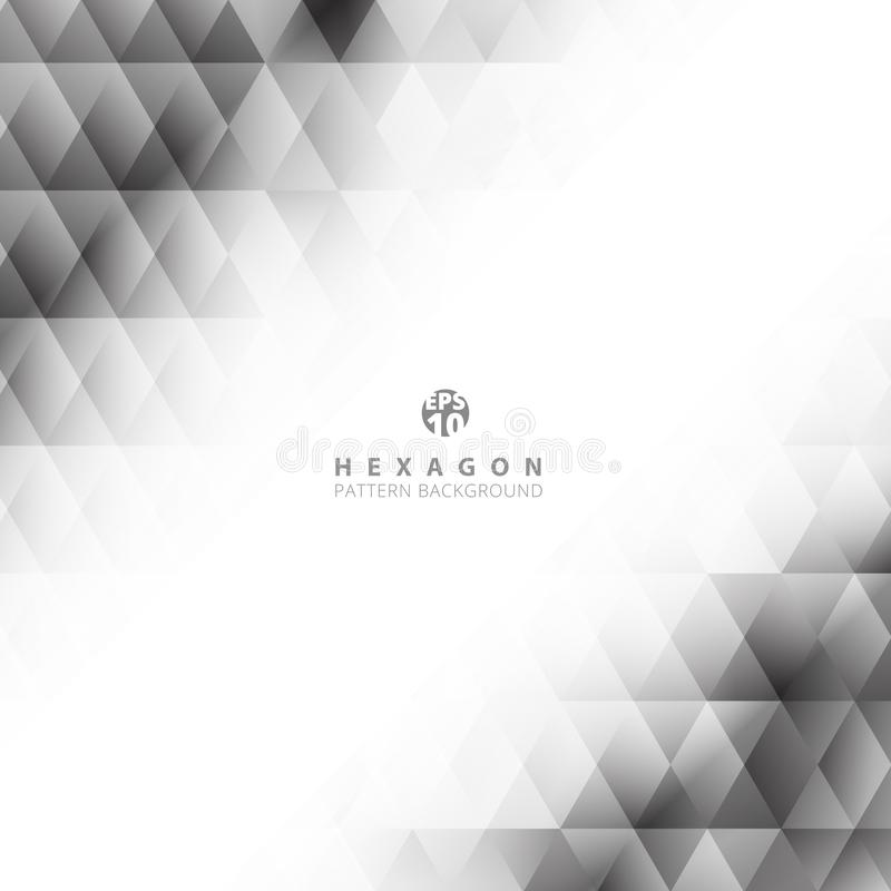 Abstract black and gray gradient color geometric hexagon pattern on white background and texture with space for your text stock illustration