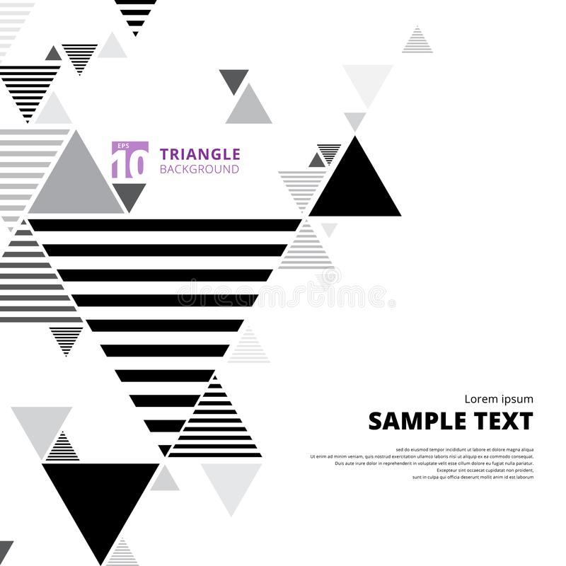 Abstract black and gray triangle composition layout on white background and lines texture. vector illustration