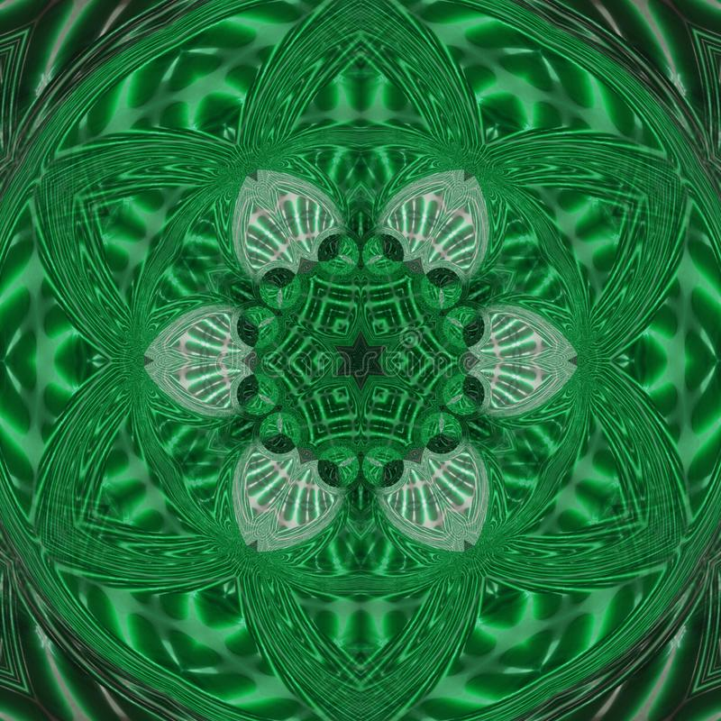Abstract black and green circular wheel of light with green curved triangle mandala royalty free illustration