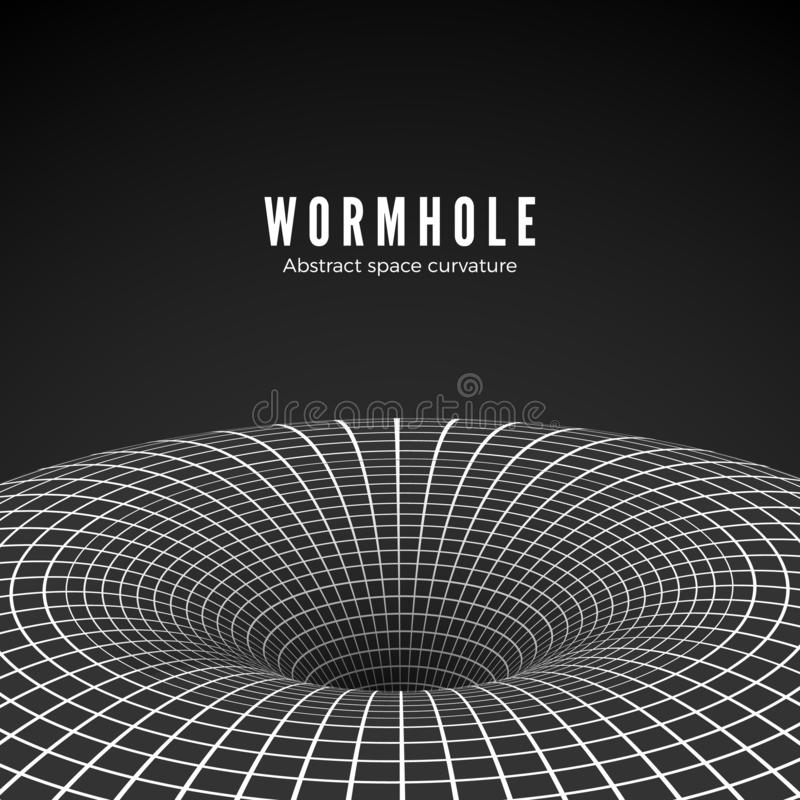 Abstract black hole or wormhole. Sci-fi digital illustration of portal though time and space. Space curvature - funnel. Vector royalty free illustration