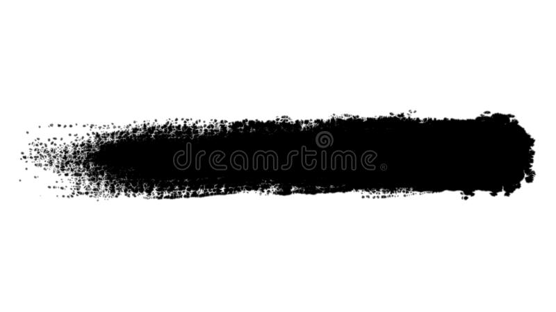 Abstract black ink hand painted brush strokes on white background. Animation. Single paint brush stroke being painted royalty free illustration