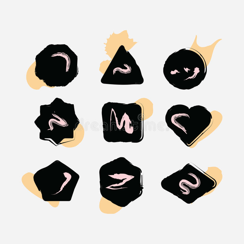 Free Abstract Black Inky Hand Drawn Shapes Icons Set Stock Photo - 77579170