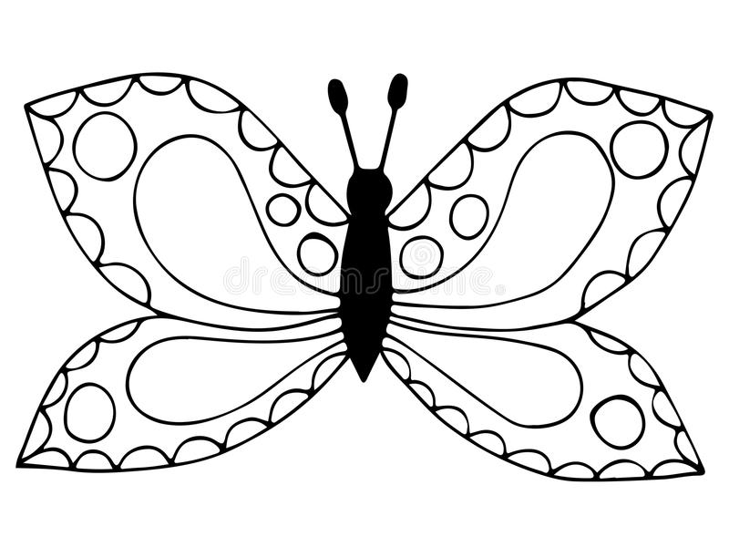 Abstract black line butterfly for coloring book, tattoo. For adult and kids isolated on the white background vector illustration
