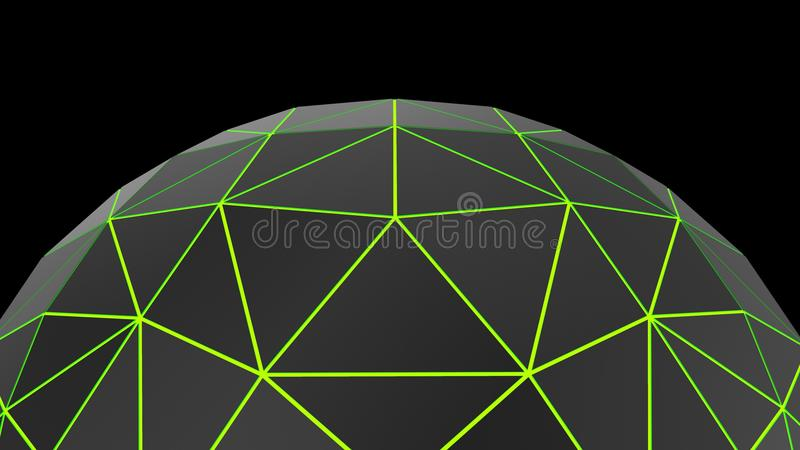 Abstract black low poly green neon glowing semi sphere vector illustration