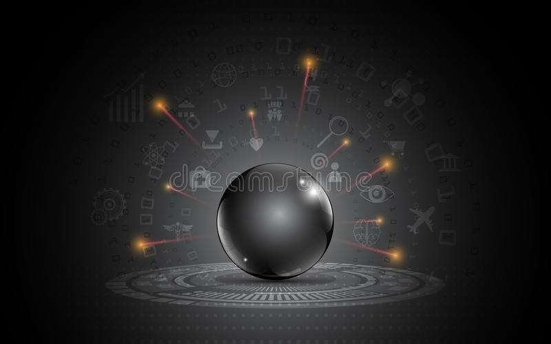 Abstract black metallic sphere template darkness modern design internet of things innovation concept royalty free illustration