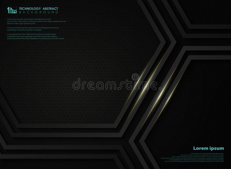 Abstract black metallic technology hexagon background with golden line for presentation. illustration vector eps10. Abstract black metallic technology hexagon stock illustration