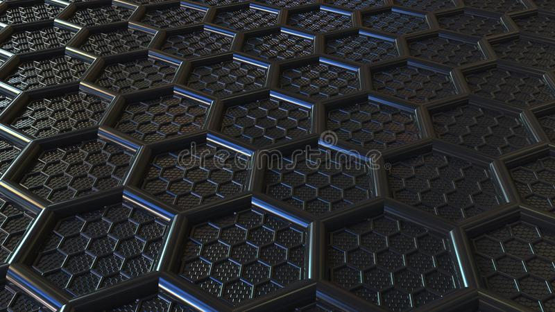 Abstract black plastic hexagons. Modern technology related 3D rendering stock photos