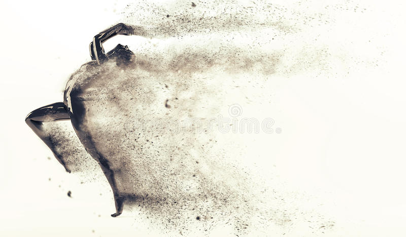 Abstract black plastic human body mannequin with scattering particles over white background. Action running and jumping pose vector illustration