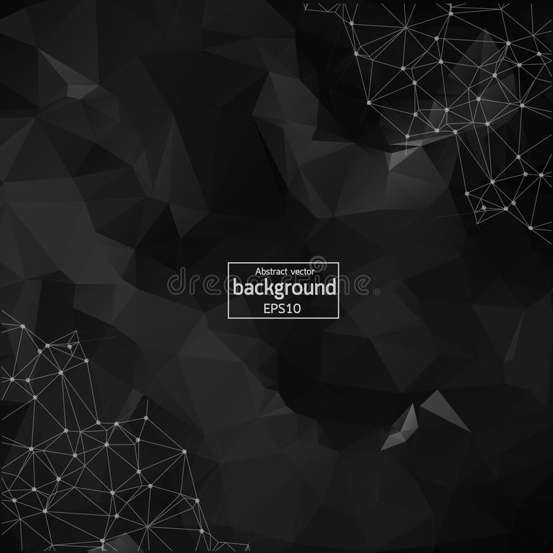 Abstract Black Polygonal Space Background with Connecting Dots and Lines. Geometric Polygonal background molecule and stock illustration