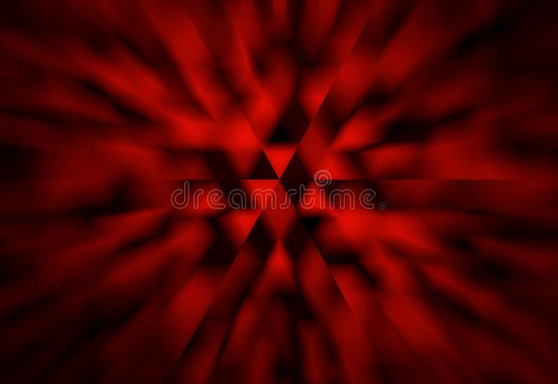 Abstract black and red background with white triangles and zoom blur effect in modern geometric science or techno design royalty free illustration