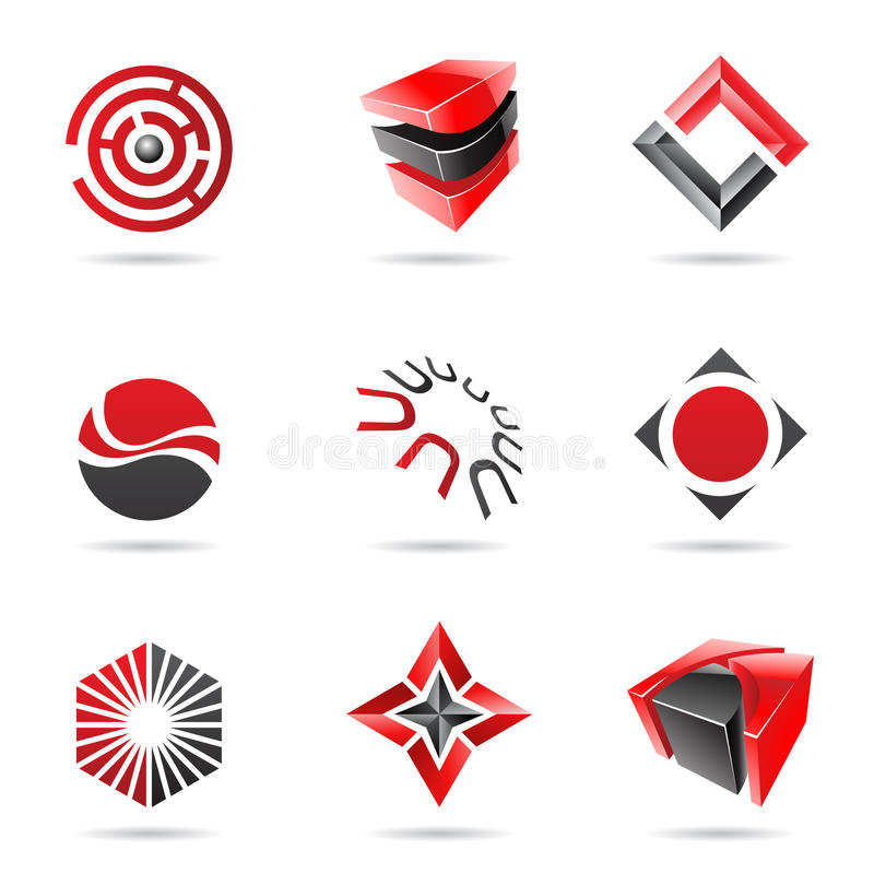 Abstract black and red Icon Set. Isolated on a white background vector illustration