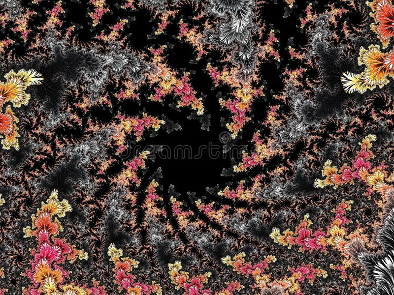 Abstract black, red and yellow textured spiral fractal pattern, 3d render for poster, design and entertainment. Background for. Brochure, website and flyer stock illustration